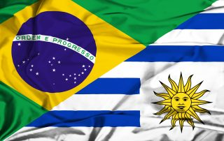 Flags of Uruguay and Brazil
